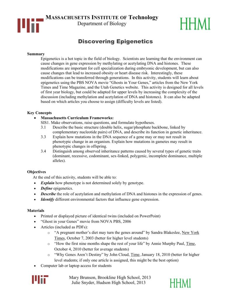worksheet Gene Technology Worksheet massachusetts institute of technology