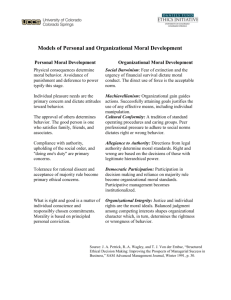 Models of Personal and Organizational Moral Development