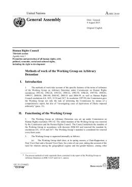 Methods of work of the Working Group on Arbitrary Detention in