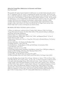 Adolescence in 20th Century Literature and Culture [DOCX 16.08KB]