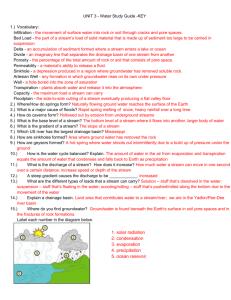 Unit 3 - Hydrosphere Study Guide Answer Key