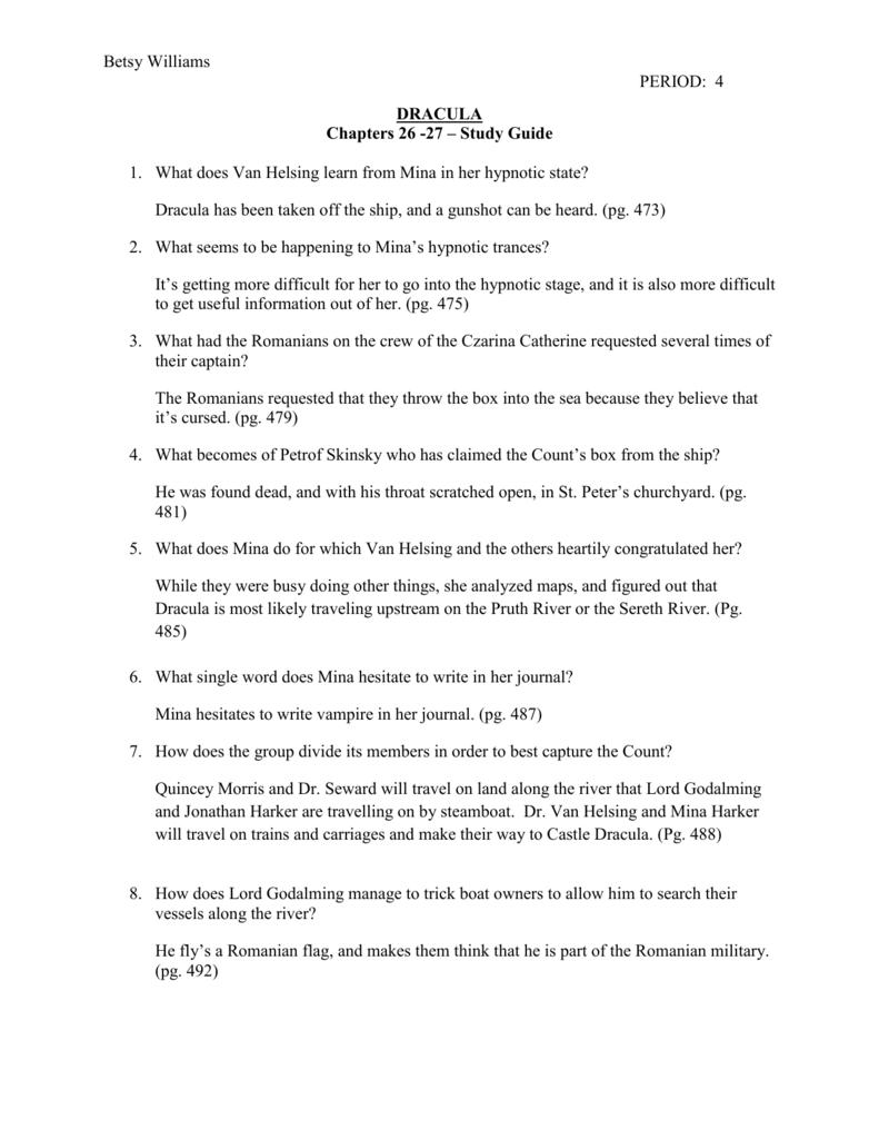 betsy williams period 4 dracula chapters 26 rh studylib net dracula quiz study guide answer Anthem Study Guide Answers