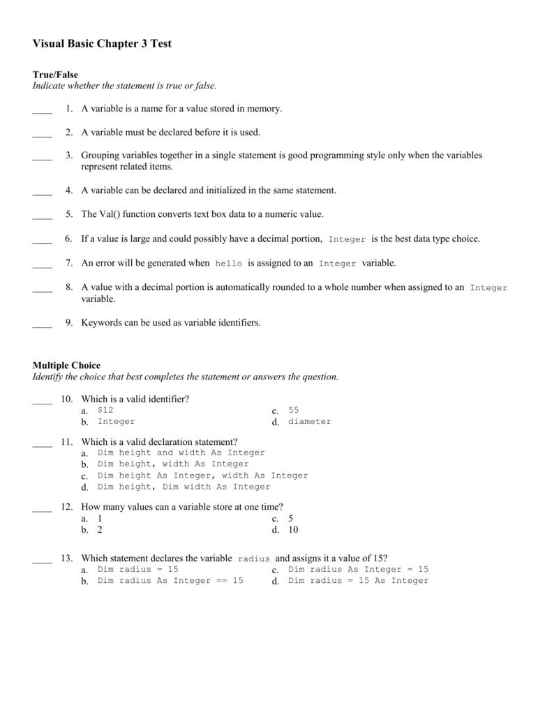 Visual Basic Chapter 3 Test