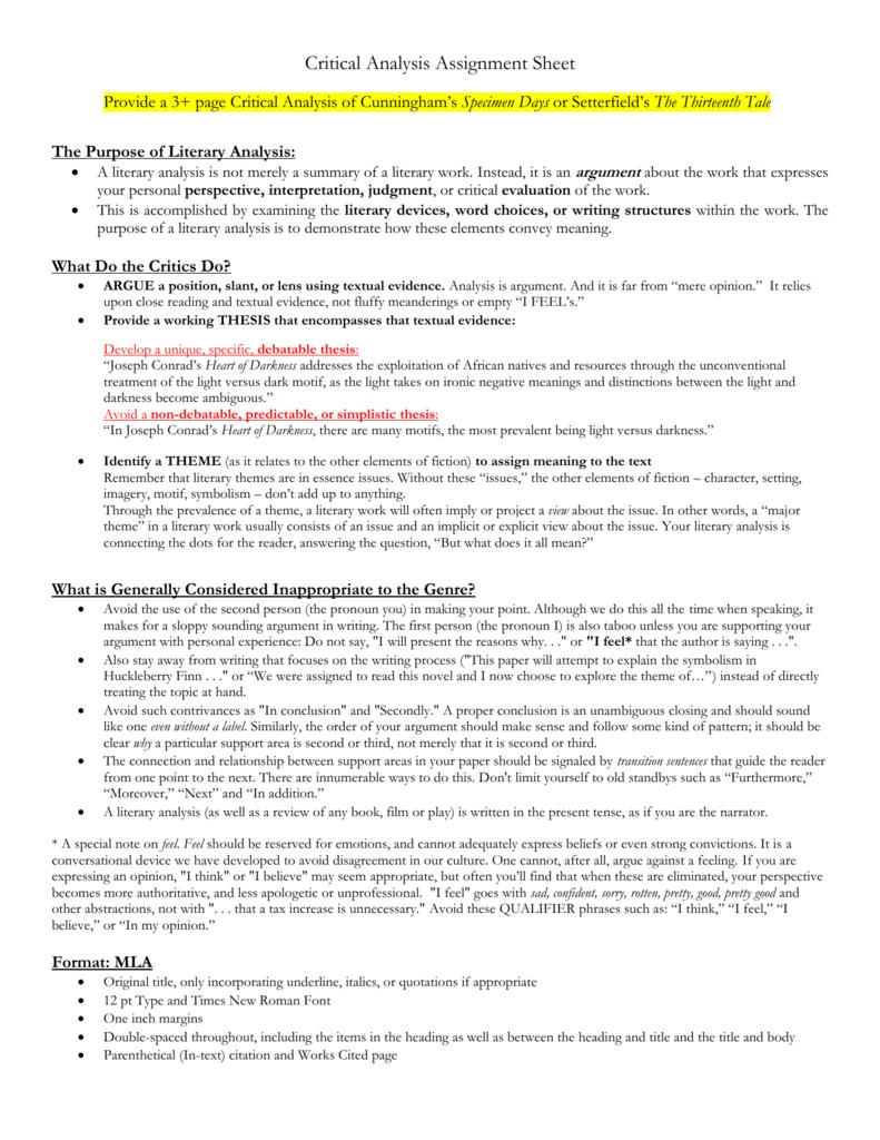 Critical analysis assignment sheet welch biocorpaavc
