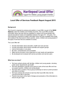 Local Offer of Services Feedback Report August 2015