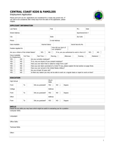 Employment application (2-pp.) - Central Coast Kids & Families