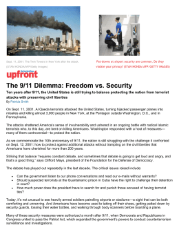 The 9/11 Dilemma: Freedom vs. Security