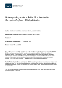Errata in table 2A of HSE 2008 - Health & Social Care Information