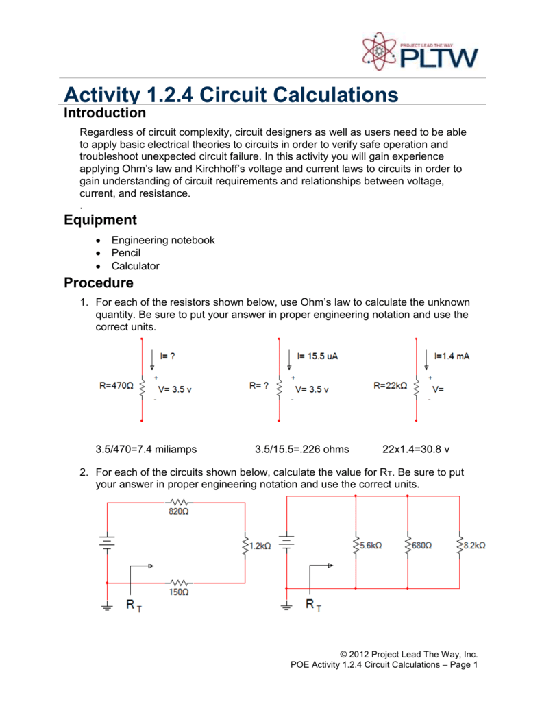 Activity 124 Circuit Calculation Series Parallel Circuits Part 5 Solving For Current Voltage And