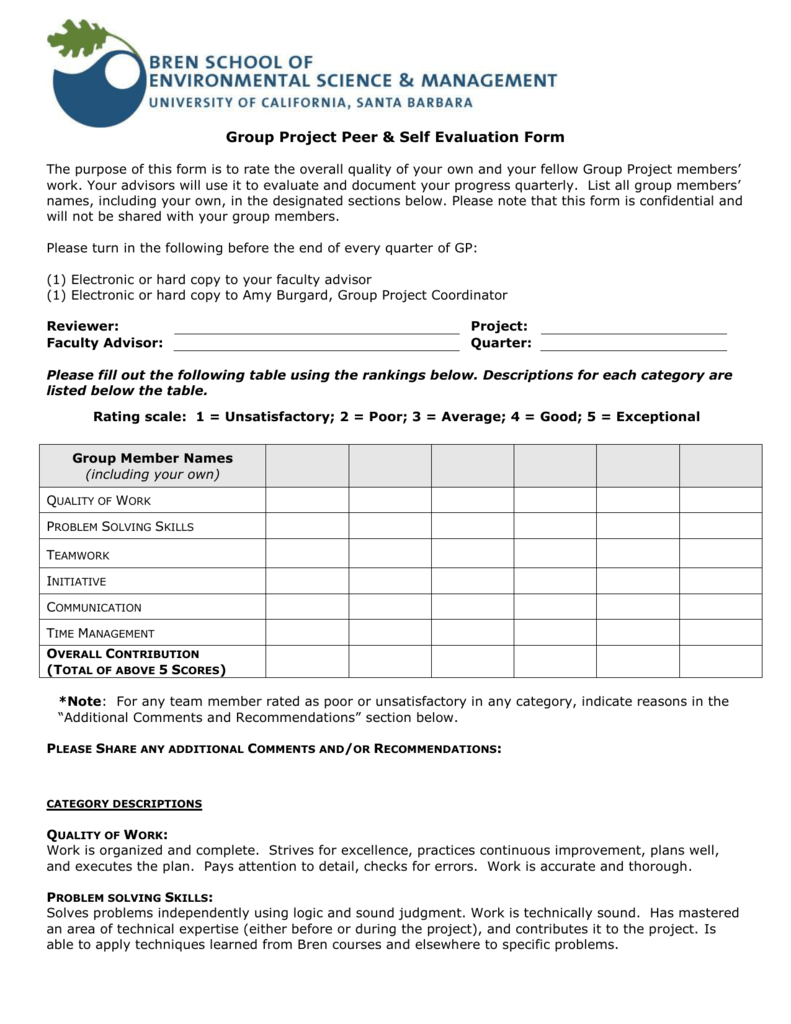 Group Project Peer & Self Evaluation Form