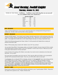 Good Morning, Foothill Knights Thursday, October 18, 2012