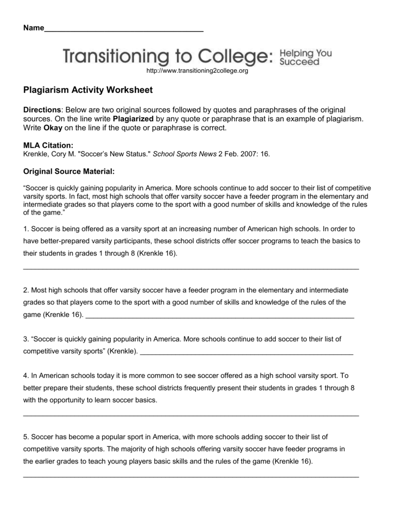 plagiarism activity worksheet mulvane school district usd 263. Black Bedroom Furniture Sets. Home Design Ideas