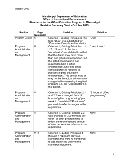 2013 Gifted Standards Summary of Changes
