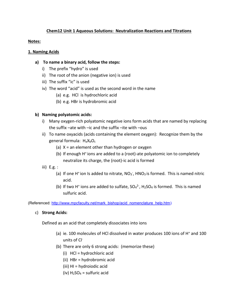 Worksheets Naming Acids Worksheet Answers chem12 unit 1 aqueous solutions neutralization reactions and