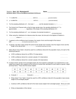 Statistics Sect. 10.2 Worksheet #1 Name Inference About Population