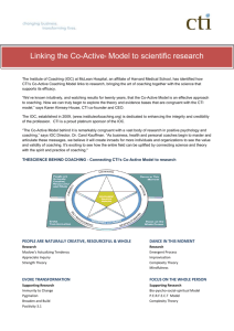 Connecting CTI`s Co-Active Model to research