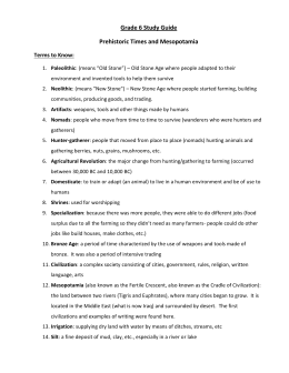 Grade 6 Study Guide Prehistoric Times and Mesopotamia Terms to