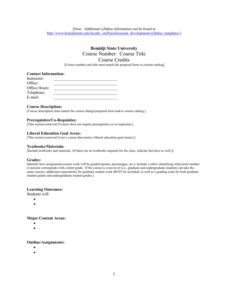 Magnificent Syllabus Outline Template Component Example