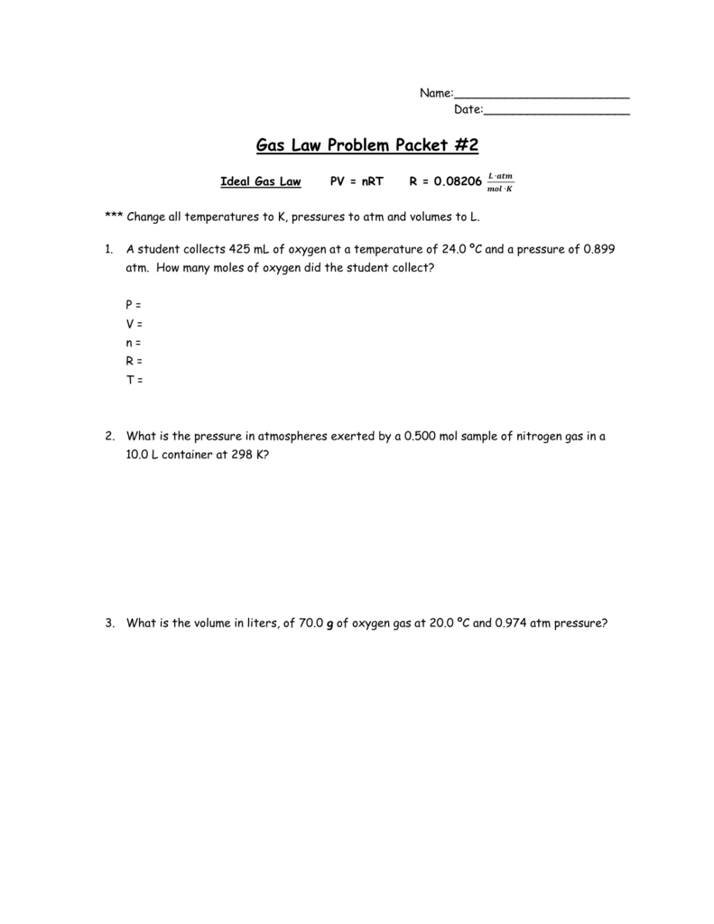 Gas Law Problem Packet #2