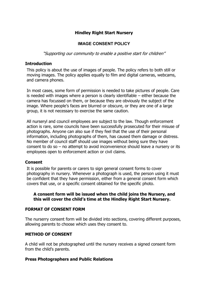 """Hindley Right Start Nursery IMAGE CONSENT POLICY """"Supporting"""