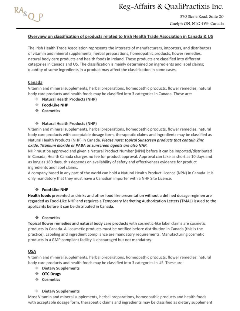 Service to IHTA members - Irish Health Trade Association
