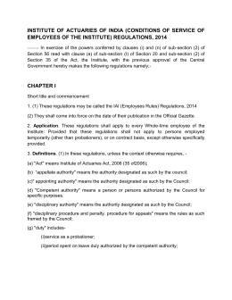 (conditions of service of employees of the institute) regulations, 2014