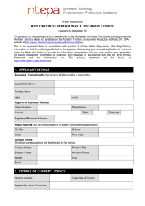 application to renew a waste discharge licence