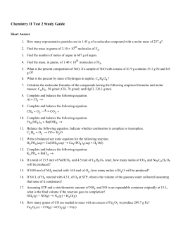 Chemistry II Test 2 Study Guide