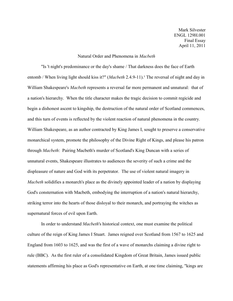 Macbeth Essay Natural Order  Natural Order And Phenomena In  Macbeth Essay Natural Order Research Essay Proposal Template also Topics For Essays In English  Bullying Essay Thesis