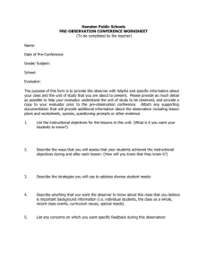 Pre Observation Conference Worksheet