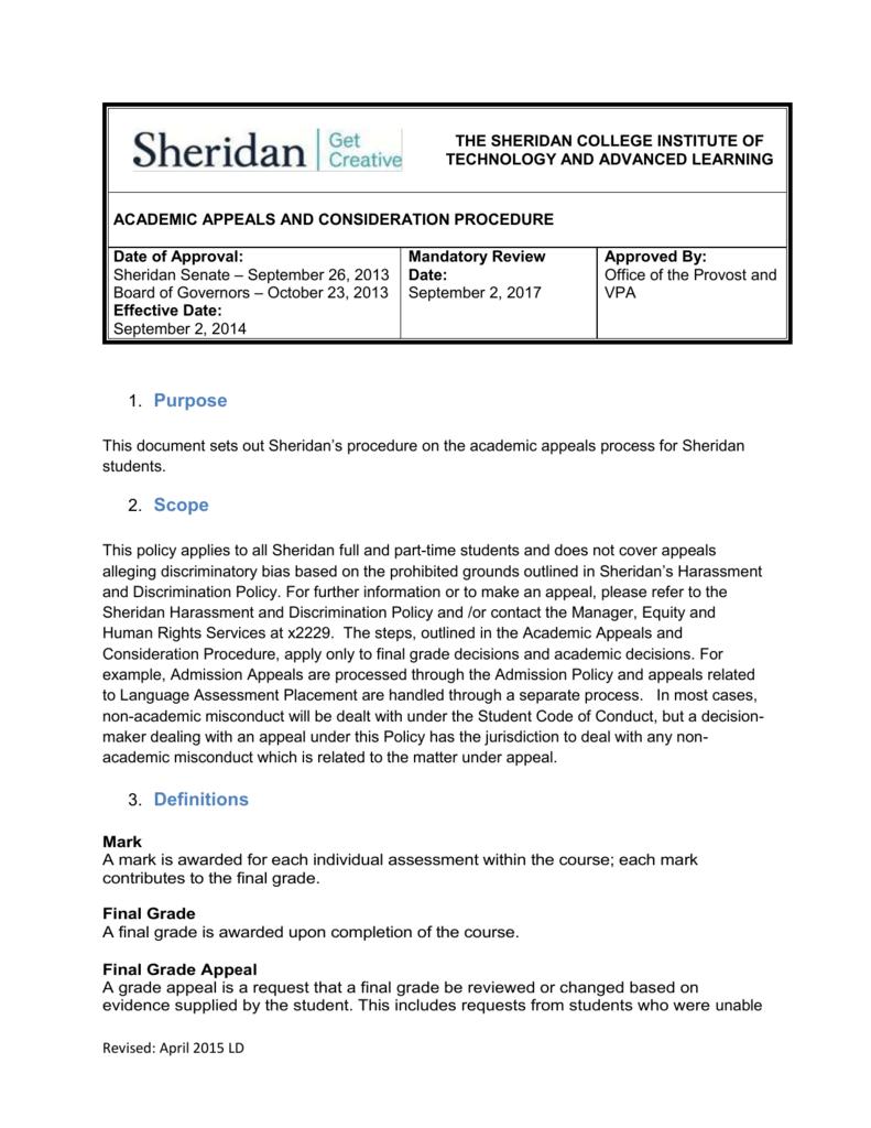 Level 2 Academic Appeal Process - myOTR