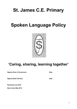 Spoken Language Policy - St James CE Primary School, Farnworth