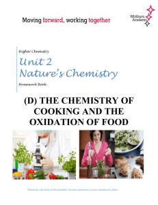 Homework (D) The Chemistry of Food