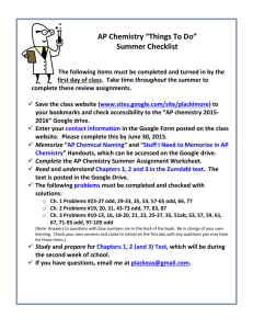 AP Chemistry Summer Assignment-updated