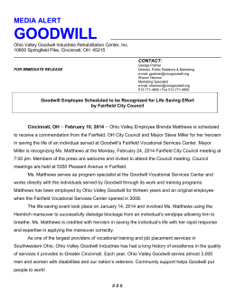 Full Press Release Here - Ohio Valley Goodwill Industries