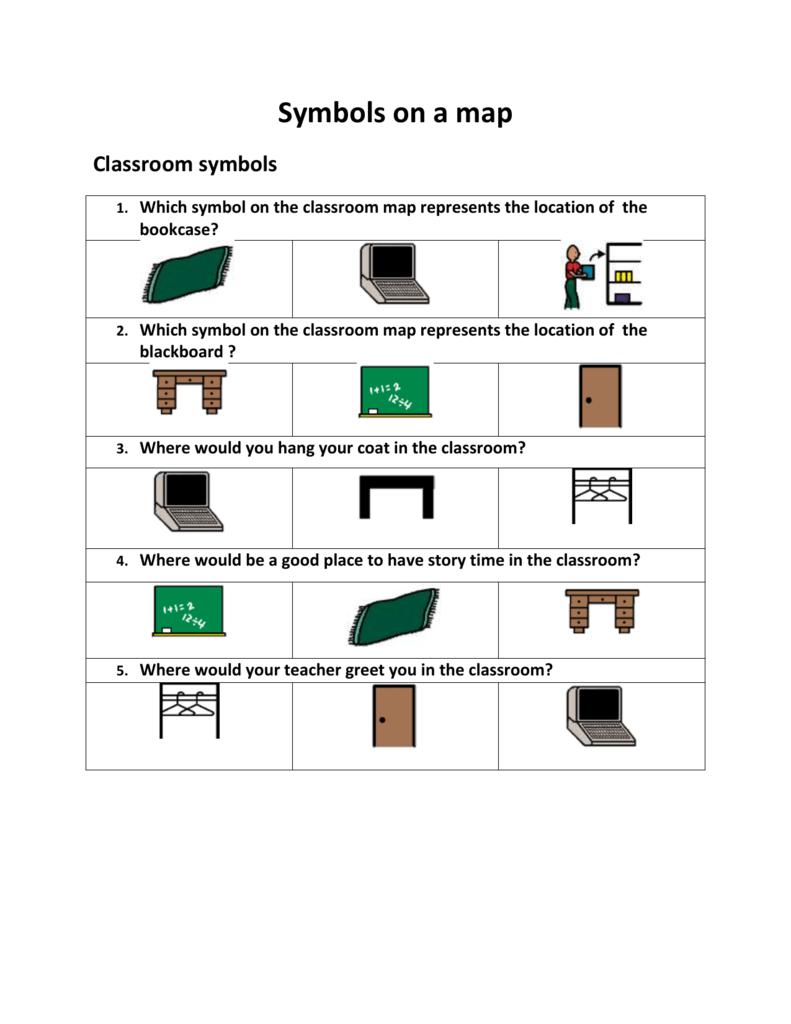 Symbols on a Map Worksheet on