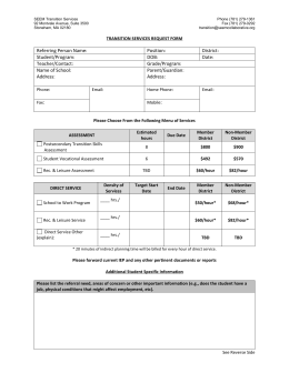 Transition and Recreational Services Request Form