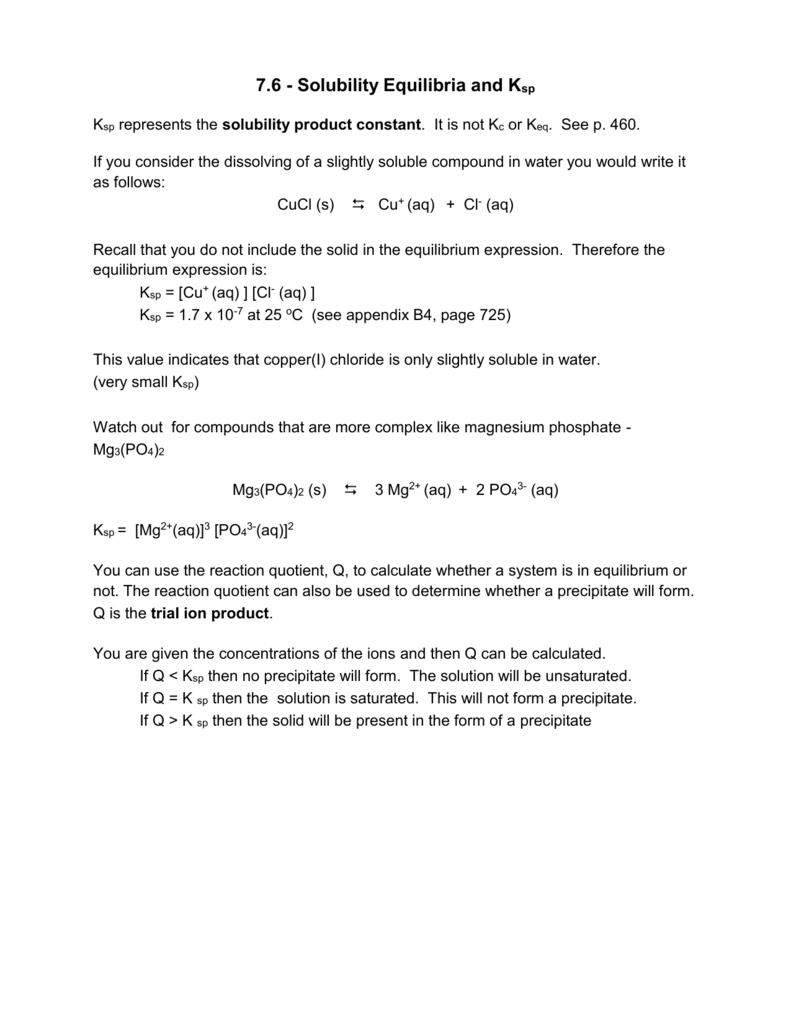 7.6 Solubility Equilibria