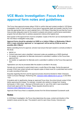 Focus Area approval form notes and guidelines