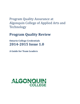 Program Quality Assurance at Algonquin College of Applied Arts
