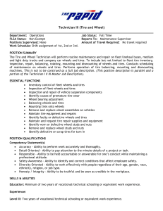 Technician III (Tire and Wheel) Department: Operations Job Status