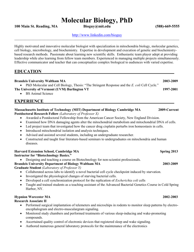 Sample Resume Molecular Biology