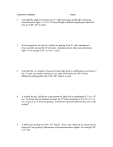 Diffraction Worksheet 1