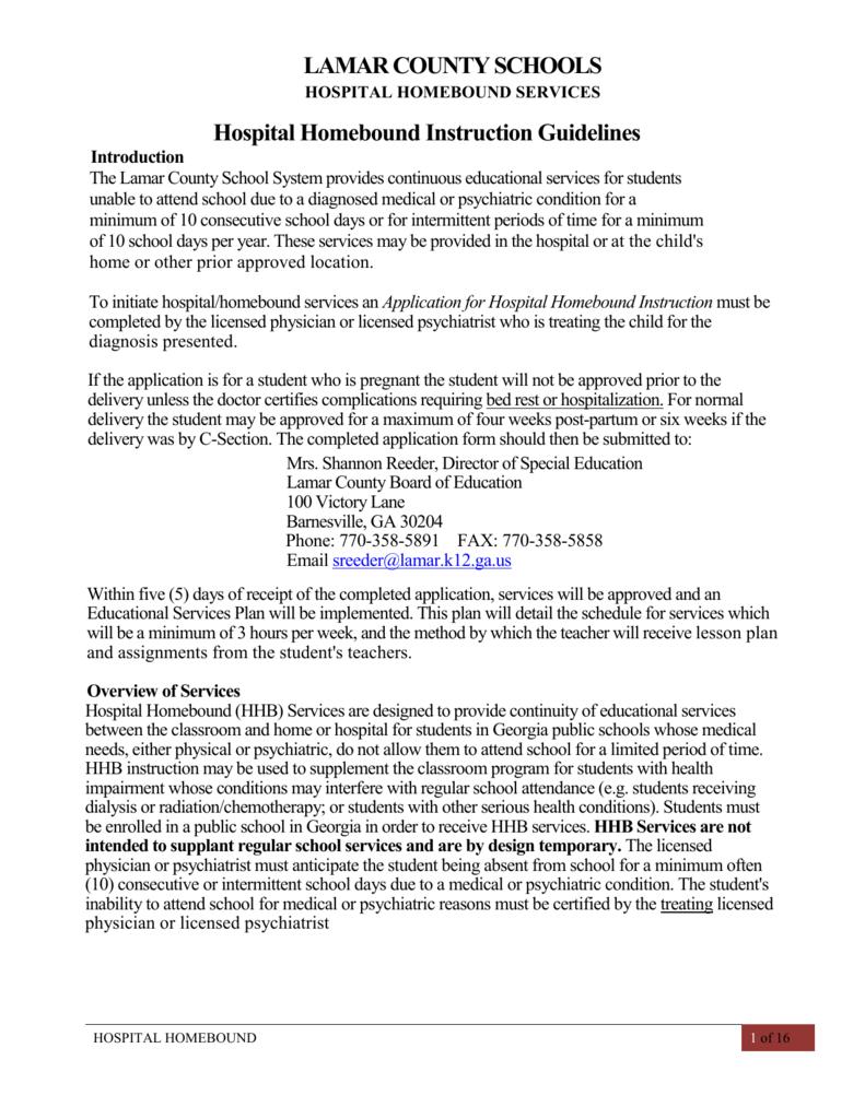 application for hospital homebound instruction