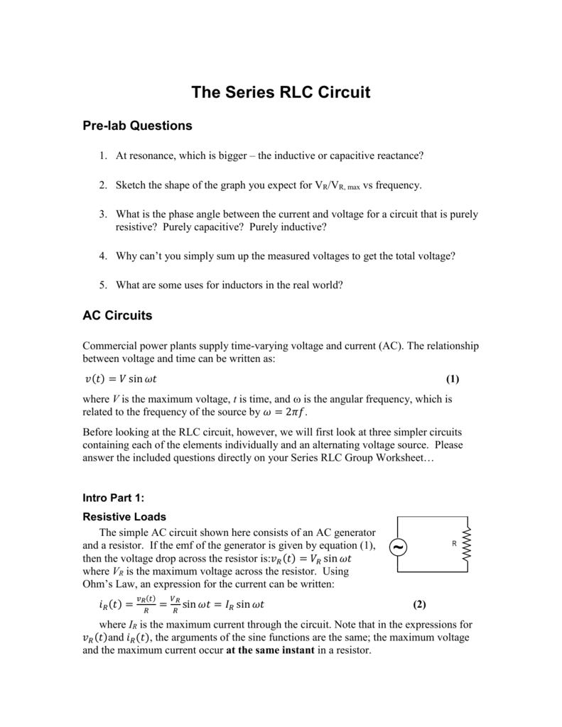 Series Rlc Simulation Lab Ac Supply Through An Rl Circuit