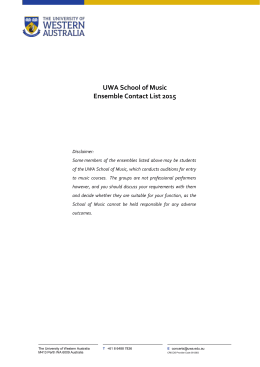 UWA School of Music Ensemble Contact List 2015