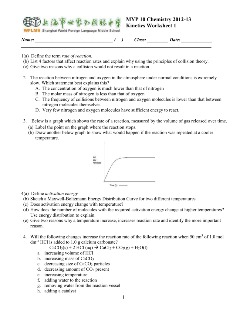 MYP 10 Chemistry 2012-13 Kinetics Worksheet 1