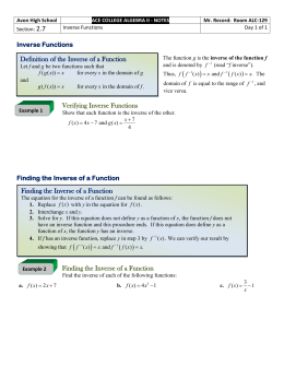 2.7 - Inverse Functions