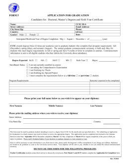 Form 5 - Application for Graduation