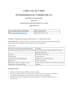 Interpersonal Communications/CMST 102 – 3 credits
